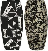 New Womens Plus Size Letters Print Black White Ladies Tie Dye Maxi Skirt 14-28