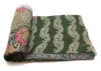 Vintage Kantha Quilt Embroidered  Cotton Comforter Blanket Bedding Ralli GG03