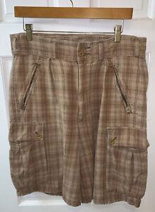 RRL Ralph Lauren Double RL Men 32 Cargo Shorts Plaid Tan Beige Brown Gray Cotton
