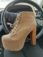 Sexy Jeffrey Campbell Tan Lita Boots Size 6 / 39 stripper platform pole dance