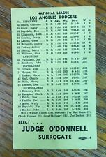 Vintage 1959 World Series Dodgers vs White Sox Advertising Players List Roster