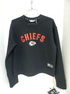 Kansas City Chiefs Womens Sweatshirt Black DKNY Sport Sample Size Small