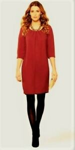 MONSOON RED REMY GATHERED NECKLINE 3/4 SLEEVE TUNIC DRESS RRP £69 Size 8