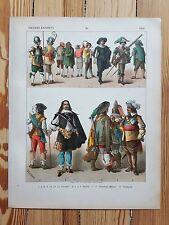 Dutch Costume - c1600 - Fashion History, Original Print, Art, 17th c Netherlands