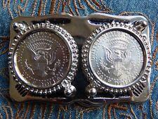 NEU Gürtelschnalle 2 American USA Half Dollar Eagle Münzen Silber Metall Western