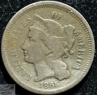 1865 Three Cent Nickel, Fine Condition, Free Shipping, Buy 4 get $5 Off, C5159