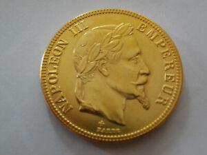 Pièce 100 francs copie plaquée or Napoléon III tête laurée