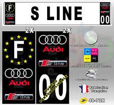 Stickers Plaque D'immatriculation Logo Fond Noir AUDI S LINE 4 pièces 45x100 mm