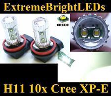 TWO Xenon HID WHITE 50W H11 H8 H9 10x Cree XP-E LED Fog Driving DRL Lights