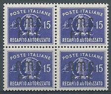 1949 TRIESTE A RECAPITO AUTORIZZATO QUARTINA MNH ** - RR1090