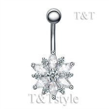 T&T Clear Cz Flower Belly Bar Ring Bl127A