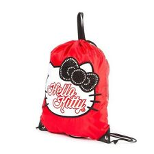 Hello Kitty Glitter and Crystal Drawstring Gym Shoulder Bag Red Black Bow - NWT