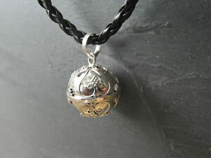 """Balinese Harmony Ball pendant genuine 925 silver 14mm """"Hearts"""" with cord"""