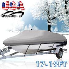 "17-19ft 600D Trailerable Boat Cover Waterproof Heavy Duty V-Hull 95"" Beam Gray"