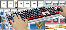 Russian Flag Background Computer Keyboard Stickers English & Russian Letter