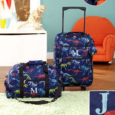 Luggage for Kids Boys Set Small Rolling Suitcase Duffel Bag Dinosaur Letter J