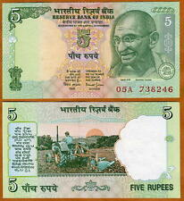 India, 5 Rupees, ND (2002), signature 88, P-88Ab, Letter R, UNC > Tractor