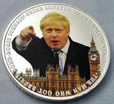 Boris Johnson The Man Who Got Brexit Done Silver Coin Faux Diamond Lock down Uk