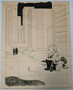 1970 Vtg Signed Ink Paper Drawing City Man Ecology Park Mid Century Modern