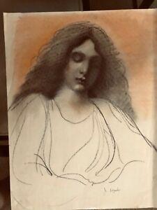 Vintage JOSEF M. KOZAK Original Work of Art HER PORTRAIT DRAWING Signed Unframed