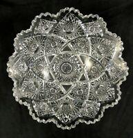 """🟩  Antique Egginton ABP Cut Glass  10 1/2""""  Large Flared Bowl c.1896-1910"""