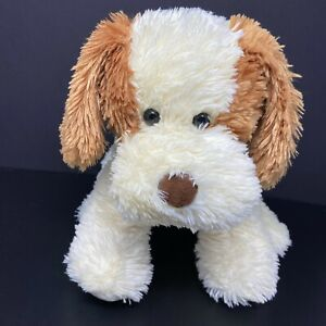 "Aurora Dog Plush Cream with Brown Ears Back Spot Puppy 14"" Shaggy Sits Lovey"
