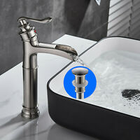 BWE Waterfall Single Handle Bathroom Vessel Sink Faucet Basin Mixer Tap W/ Drain