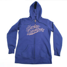 Harley Davidson Men's Full Zip Hoodie Small Coos Bay OR Navy and Pink