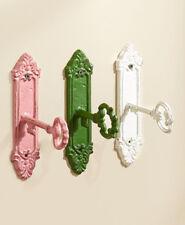 Set Of 3 Colored Scrolled Metal Key Hangers Vintage Inspired Old Key Wall Hooks