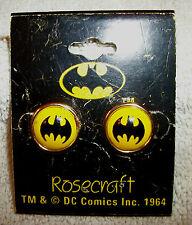 "Vtg Batman Stud Earrings 1964 Rosecraft Black and Yellow Acrylic and Metal 5/8"""