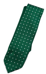 NWT - Drake's – Green Polka Dot Silk Tie, Made in England