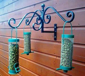 WILD BIRD FEEDER STATION ,FENCE, TREE, SHED,  WALL MOUNTED, WROUGHT IRON  HANGER