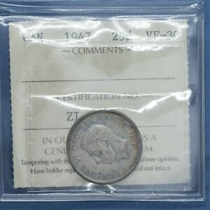 Canada 1947 - Silver Quarter - Graded VF-30 by ICCS