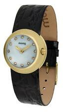 Moog Paris Zoom Women's Watch with White Dial, Gold Genuine Leather Strap