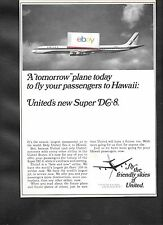 UNITED AIR LINES 1967 TOMORROW'S PLANE TODAY TO HAWAII DOUGLAS DC-8 SUPER 63 AD