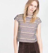 Zara W/B Collection Jacquard Stripe Crop Top Size Large