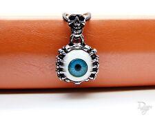 Totenkopf Schädel Augen blau Klaue Punk Biker Herren Unisex Gothic Halskette