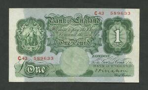 BANK OF ENGLAND  Mahon £1 1928 C B212  Good VF  Banknotes
