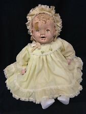 """Rare Antique 1900s Composition Cloth Large Baby Doll 26"""" w/ Clothes"""