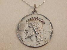"""Vintage- Sterling Silver Jesus """"I am a Baptist"""" Pendant & Chain -Deceased Estate"""