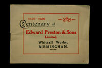 "Centenary of ""EDWARD PRESTON & SONS LIMITED""  1825-1925 Booklet Inv#HKH5"