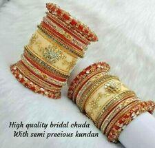 Rajwadi Dulhan Set Wedding Kundan Red White Chura Bridal Bangle Acrylic Plastic