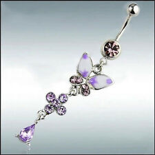 Belly Rings Button Navel Butterfly Flower Body Piercing Jewelry Surgical Steel