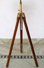 Antique brass color brown wooden corner floor tripod stand vintage home decor