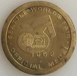 Seattle World's Fair Official Medal 1962 Century 21 Exposition Monorail 32mm!@!