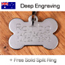 Stainless Steel Bone Pet ID Tag Puppy Name Tags Personalised DEEP Engraving Dog