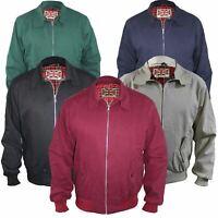 Mens Jacket Classic Bomber Harrington Front Pockets Zip Up Coat Elasticated Cuff