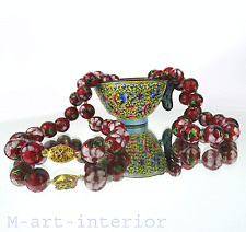 alte Email Kette Halskette Collier Chinese Cloisonne Necklace vintage China 1950