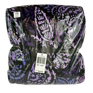 "Vera Bradley Throw Blanket Paisley Amethyst Size 80"" x 50"" Purple 12408-P71 NEW"