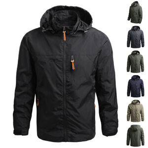 Mens Winter Zip Up Coat Tactical Military Jackets Combat Hooded Jacket Outwear